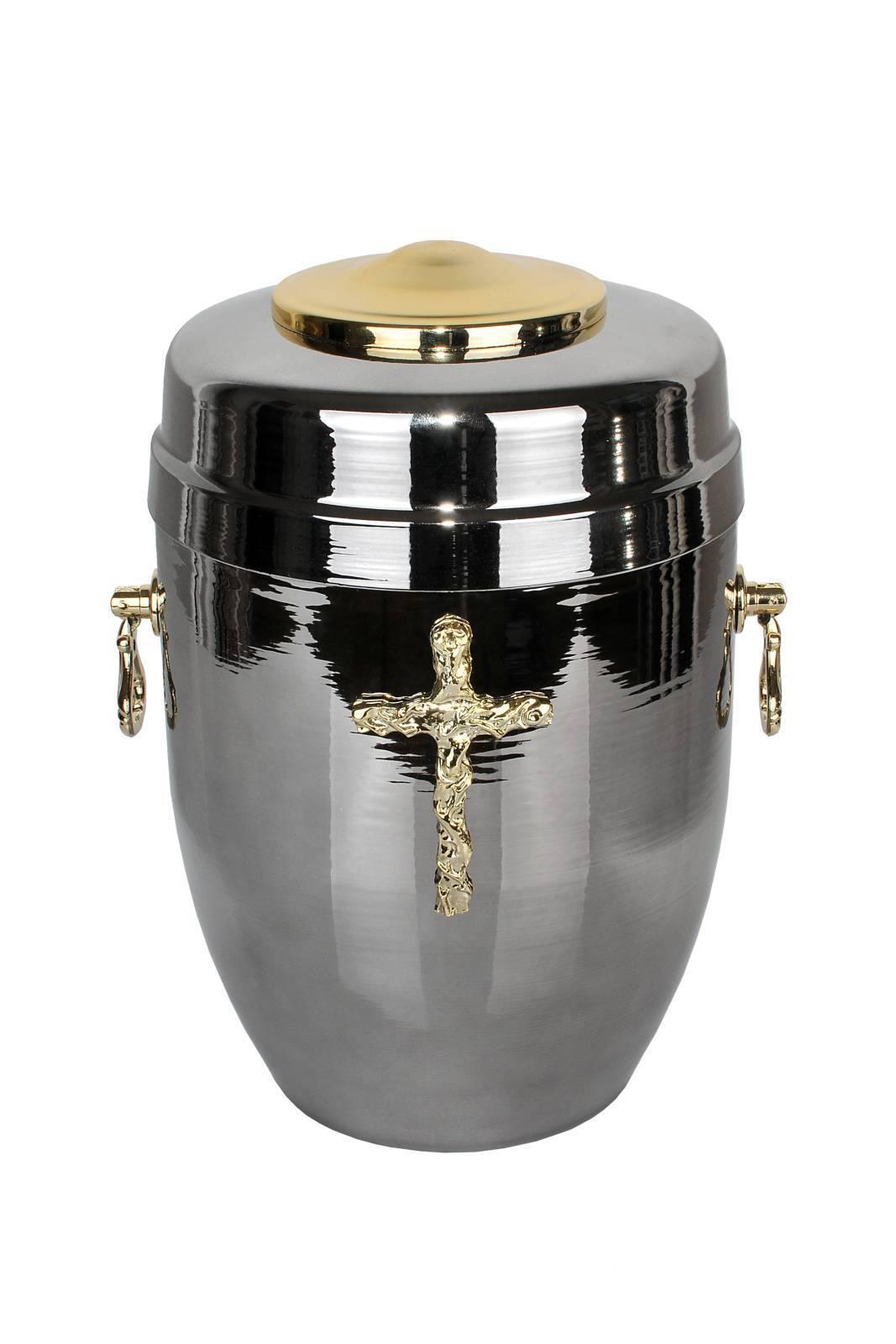 Magn argent Urne de crémation pour cendres avec or croix enterrement Souvenir
