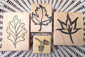 Lot-4-Stamps-3-Fall-Leaves-Leaf-amp-1-Acorn-Mounted-Rubber-Brand-New