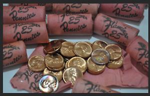 1958-P-or-D-Rare-Flamingo-Casino-1c-Lincoln-Short-Roll-25-Pennies-RARE
