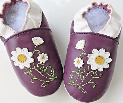 Minishoezoo butterfly purple  24-36 m new soft sole leather baby shoes free ship