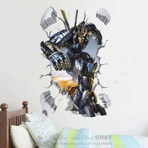 3D Broken Wall Transformers Removable Kids Wall Art Stickers Vinyl Decal Decor