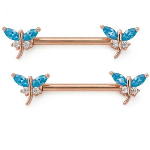 """14g 9//16"""" PVD Rose Gold Jeweled Dragonfly Nipple Rings New Cute Body Jewelry"""