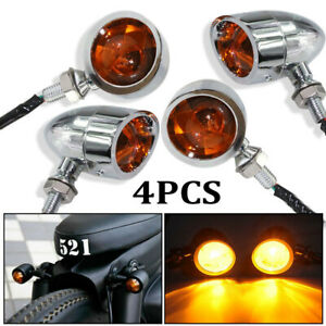 Motorcycle Vintage Universal Black Turn Signal  Indicator Light Blinker Amber