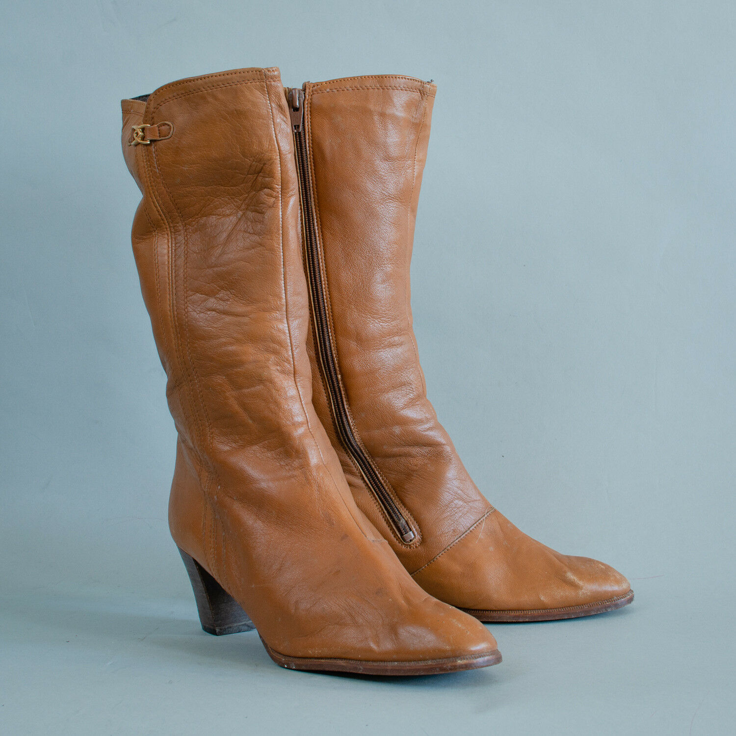 Vintage 80's 90's Women's Tan Leather Long Heeled Calf Boots US 9