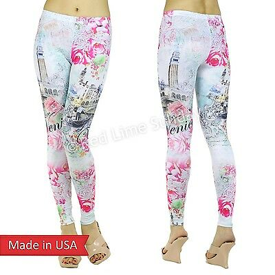 Be My Valentine Romantic Venice Italy Chic Floral Print Leggings Tight Pants US