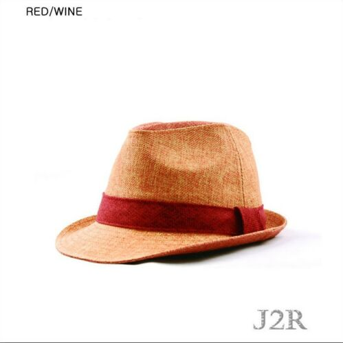 Trendy Classic Poly-Hemp Suit Fedora Trilby Fedora Hat JRJ062 Red//Wine 7 3//4 2XL