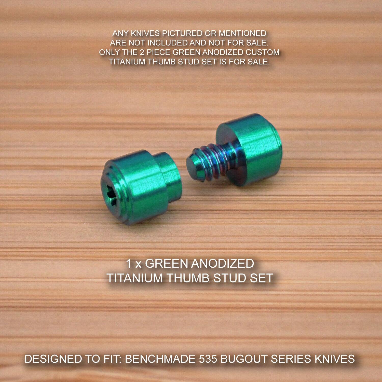 Benchmade 535 Bugout Personalizado Set con pulgar de Titanio Anodizado verde