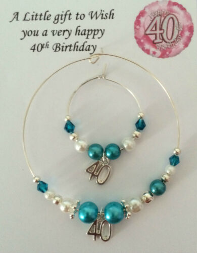 Wine Champagne Bottle /& Glass Charm 30 40 50 60 Birthday Turquoise in gift bag