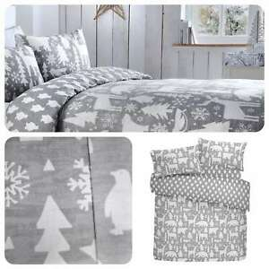 Fusion-ARCTIC-ANIMALS-Grey-100-Brushed-Cotton-Christmas-Duvet-Cover-Set