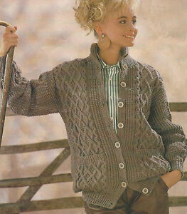 f0f65794f30321 Ladies Aran Jacket Knitting Pattern with Cables and Pockets 32-42 ...