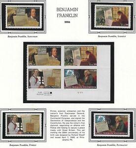 US-MNH-Stamps-Scott-4021-thru-4024-2006-Franklin-Plate-Block-Singles