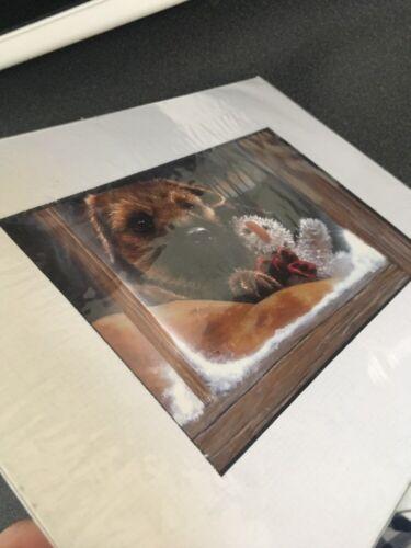 Border Terrier Puppy Xmas Print Art Print Mounted 10 X 8