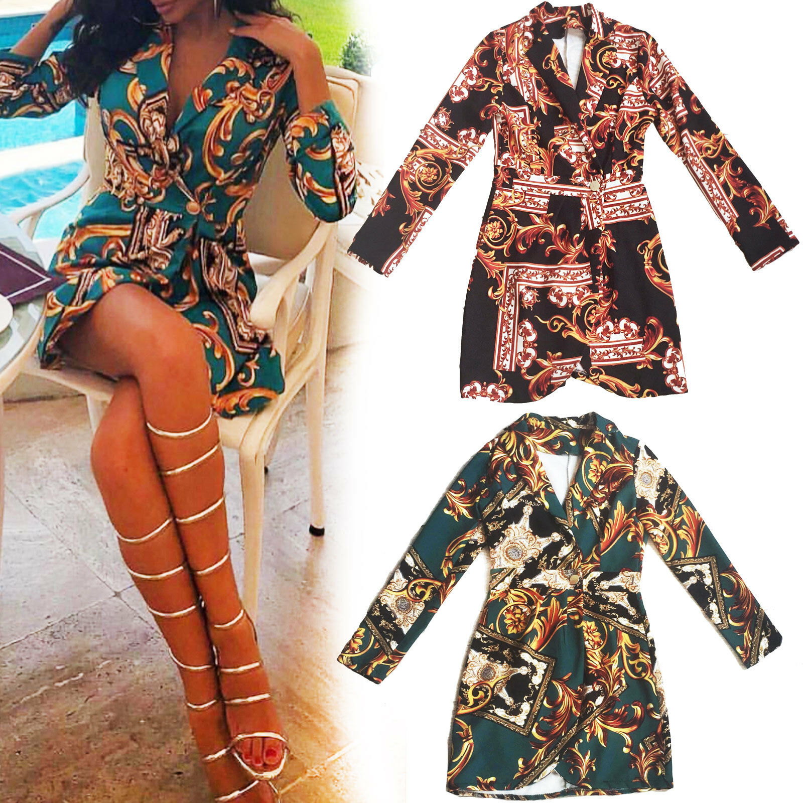 Kleid Frau Minikleid Buttons zweireihig angepasst élégant barocco GI-20628