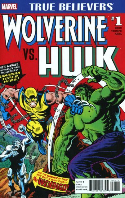 TRUE BELIEVERS WOLVERINE VS HULK#1 HULK #181 MARVEL COMICS 2/1/17