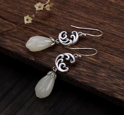 Fine Jewelry Jewelry & Watches Hard-Working A02 Earring Magnolienblüte Blossom From White Jade Sterling Silver 925 Diversified Latest Designs