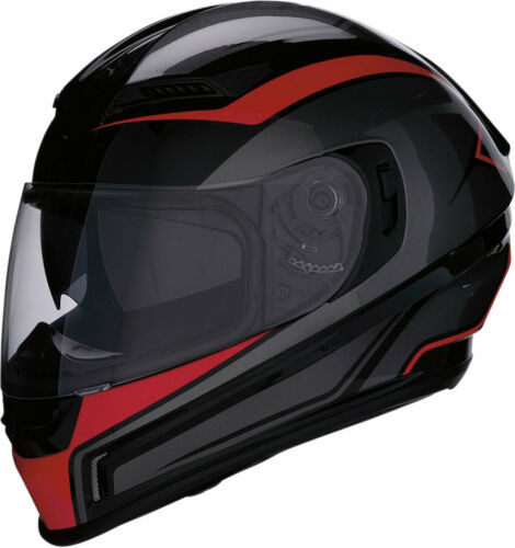 Z1R JACKAL AGGRESSOR Full-Face Helmet w//Drop-Down Sun Visor Black//Red Medium