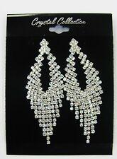 Silver Clear Rhinestone Crystal Chandelier Dangle Earrings Prom Bridal # 5591