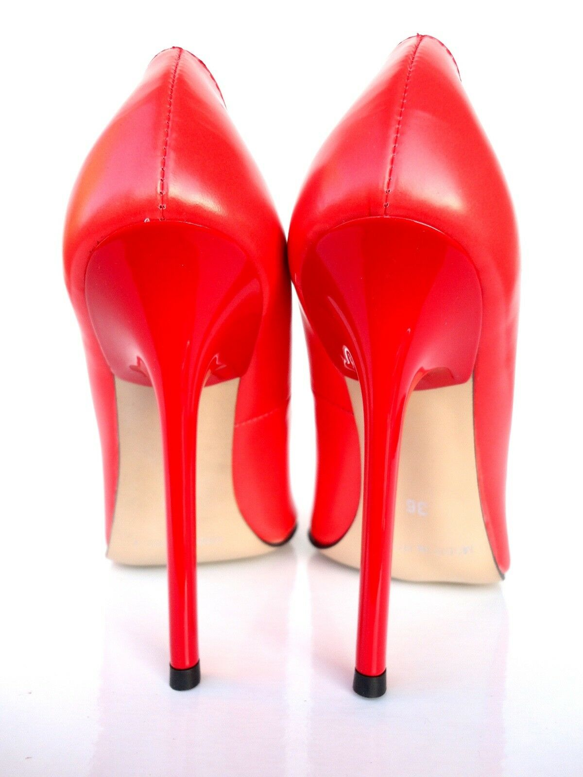 GIOHEL ITALY HIGH HEELS POINTY TOE PUMPS SCHUHE LEATHER COURT SHOES RED 37