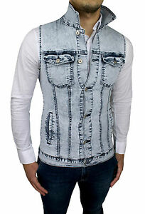new products 9e207 a5328 Dettagli su GIUBBINO SMANICATO DI JEANS UOMO SLIM FIT CARDIGAN GILET DENIM  tg S M L XL XXL