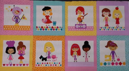 Girl Friends Fabric Panel  100/% cotton Bright Girls at work and play