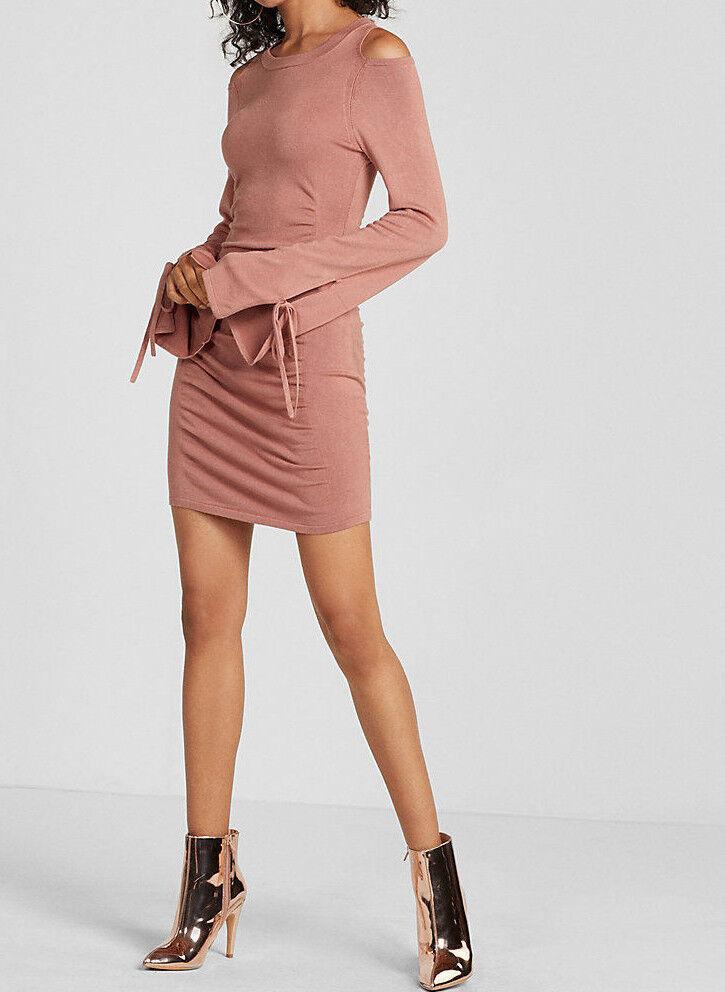 EXPRESS flared sleeve cold shoulder ruched dress Branded Peach S HOT  BONUS