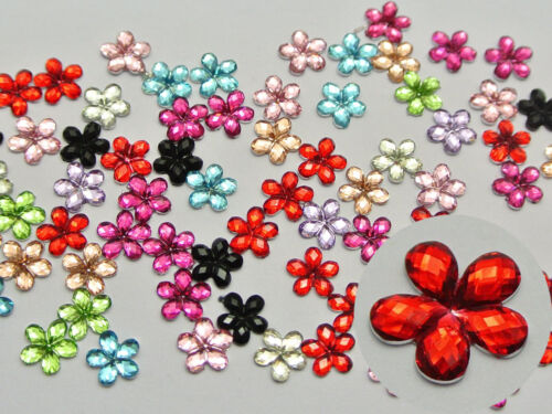 1000 Mixed Color Acrylic Flatback Faceted Flower Rhinestone Gems 6mm