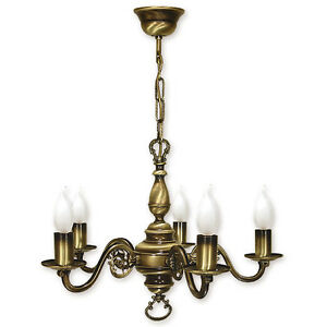 CHANDELIER-5-ARMS-TRADITIONAL-CEILING-LIGHT-ANTIQUE-BRASS-FINISH-CANDLE