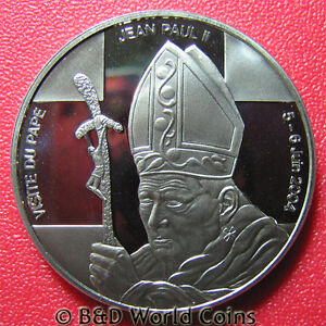 2004-CONGO-5-FRANCS-PROOF-POPE-JOHN-PAUL-II-VISIT-COLLECTABLE-COIN-Cu-Ni-39mm