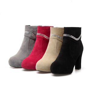 Women-Ankle-Boots-Block-High-Heel-zip-Party-Shiny-Comfy-Shoes