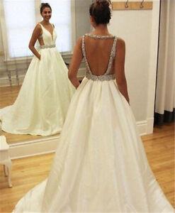 Deep V-Neck Wedding Dresses Bridal Gowns Backless Satin A Line Beaded Custom
