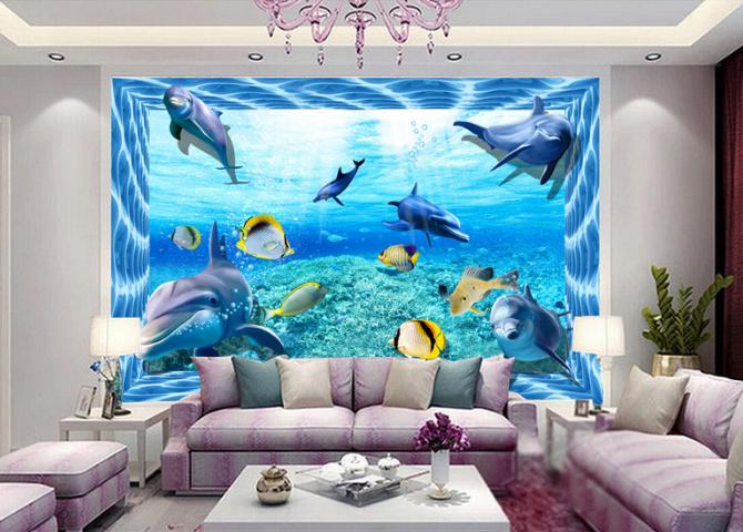3D Sea Dolphins 6716 Floor WallPaper Murals Wall Print 5D AJ WALLPAPER AU Lemon