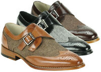 Giovanni 6641 - Men's Leather And Tweed Single Monk Strap Dress Shoe- Reduced