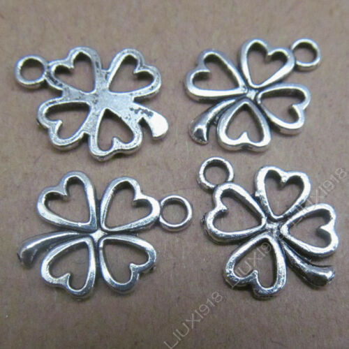 20x Tibetan Silver Heart Clovers Pendant Charms Beads Findings Accessories B500Y