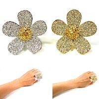 Women Big Crystal Rhinestone Flower Silver Gold Fashion Jewelry Adjustable Ring