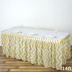 14-ft-Champagne-PLASTIC-Chevron-TABLE-SKIRT-Disposable-Wedding-Party-Decorations