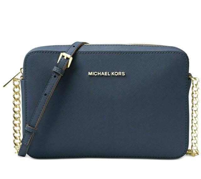 Michael Kors Jet Set Large Navy Blue/Gold Saffiano Leather Crossbody Chain Bag