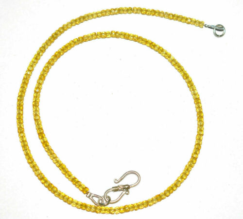 """925 Sterling Silver 13-20/"""" Necklace Strand Zircon Gemstone 3 mm Faceted Beads"""