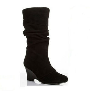 WOMEN-SHOES-DESIGNER-BLACK-LEATHER-SUEDE-WEDGE-HEEL-SLOUCH-CALF-BOOTS-WINTER