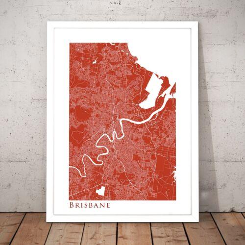 Red Brisbane Map Minimal Queensland Original Home Decor Art Poster Print