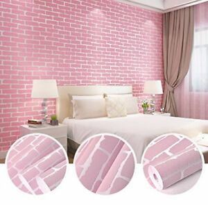 Image Is Loading 3D Adhesive Brick Pink Wallpaper Modern Bright DIY