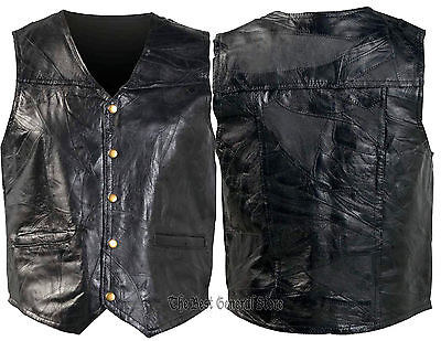 Mens Black Genuine Leather Lined Vest 5 Snap Front 2 Watch Pockets