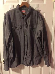 WRANGLER-Men-039-s-Gray-Long-Sleeve-Button-Up-Western-Shirt-Size-3XL