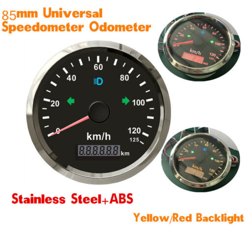 85mm Stainless Steel GPS Speedometer 125km//h Odometer For Motorcycles Car Truck