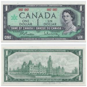 1967-Bank-of-Canada-1-Beautiful-Centennial-Note-Crisp-UNC