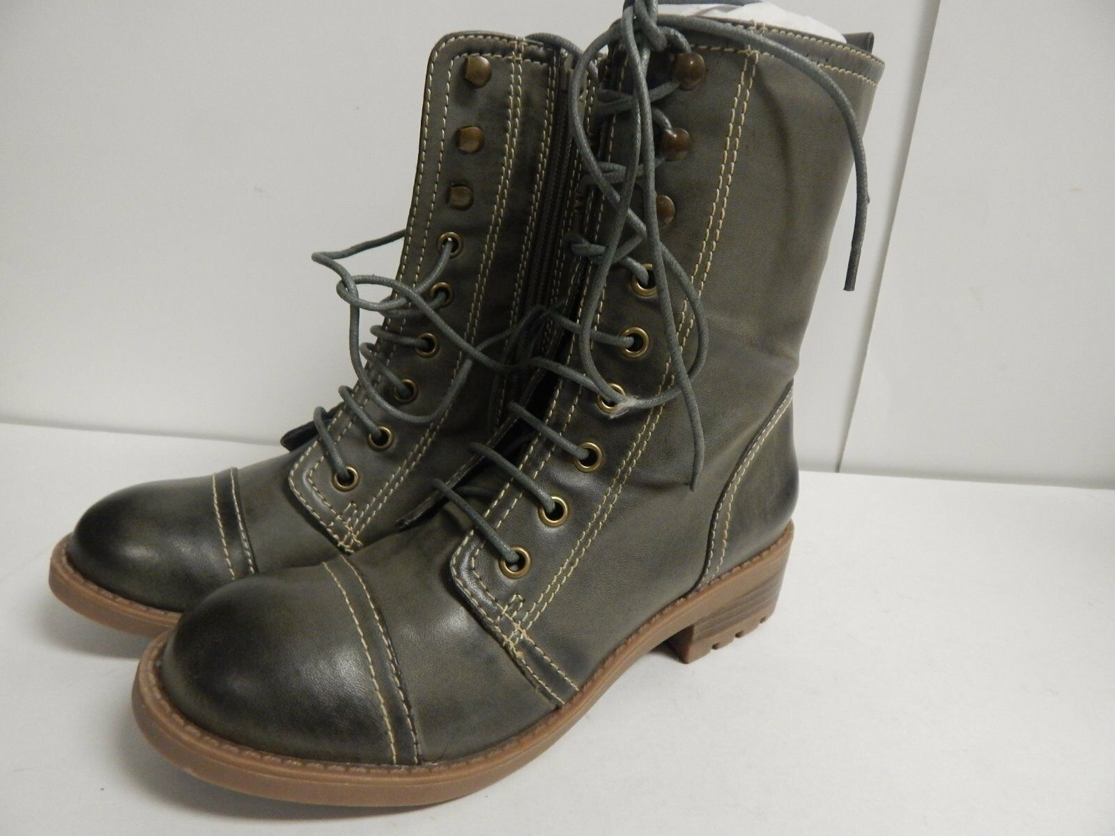 Kensie Girl Roper Lace Up Military Boot 5.5 M Vintage Green NEU with Box