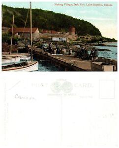 CANADA-Postcard-Ontario-Fishing-Village-Jack-Fish-Lake-Superior-A5