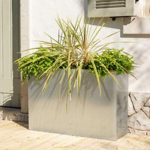 Cache Pot Cube Zinc Galvanisé Jardinière Pot de Fleurs Extérieur Terrasse Jardin
