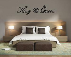 king queen wandtattoo aufkleber wandaufkleber spruch bett schlafzimmer ebay. Black Bedroom Furniture Sets. Home Design Ideas