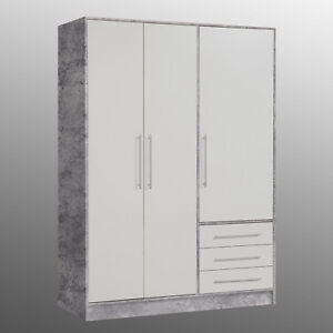 kleiderschrank betonoptik jupiter schrank front wei mit 3 schubk sten 145 cm ebay. Black Bedroom Furniture Sets. Home Design Ideas