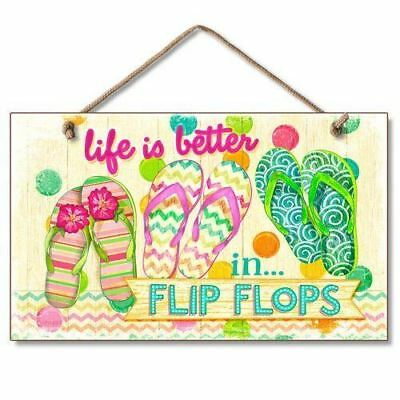 Small Heart Sign Life/'s Too Short Better In Flip Flops Beach Bum Happy Place Sea